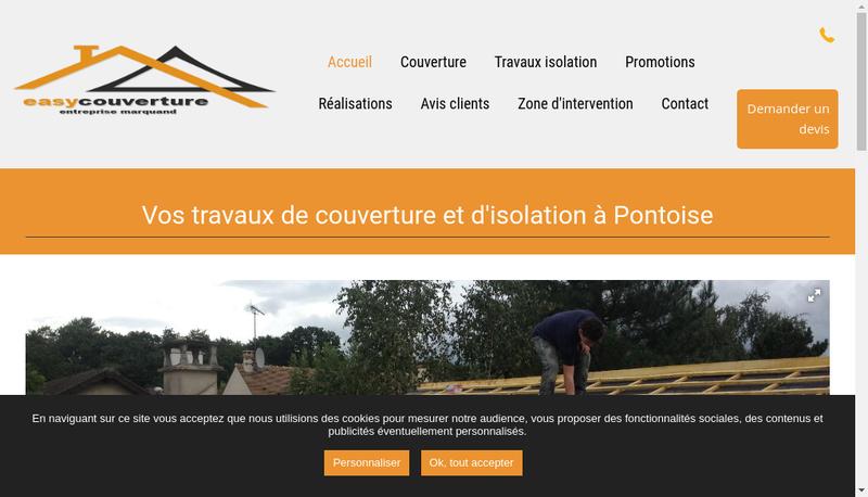 Capture d'écran du site de Easycouverture Entreprise Marquand