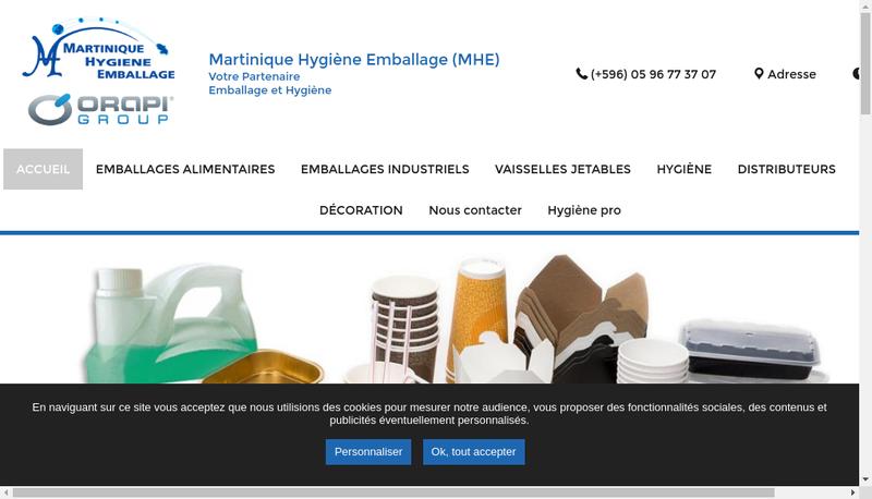 Capture d'écran du site de Martinique Hygiene Emballage