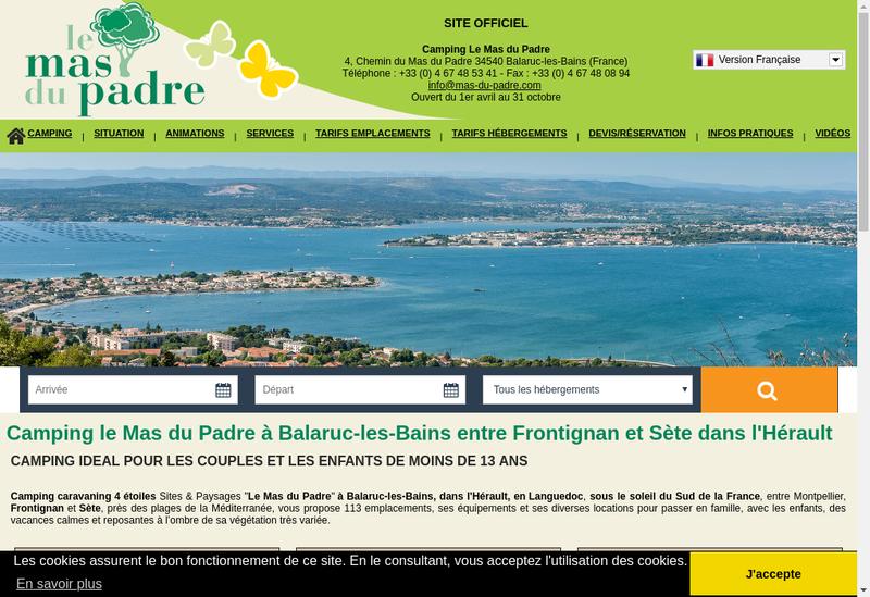 Capture d'écran du site de SARL Camping le Mas de Padre