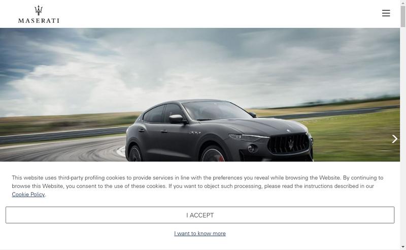 Capture d'écran du site de Maserati