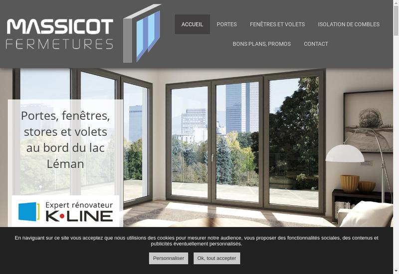 Capture d'écran du site de SARL Massicot Fermetures