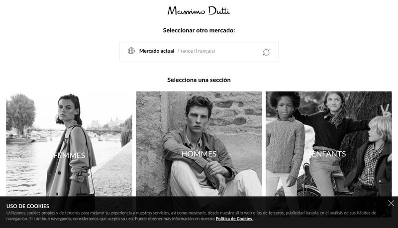 Capture d'écran du site de Massimo Dutti France