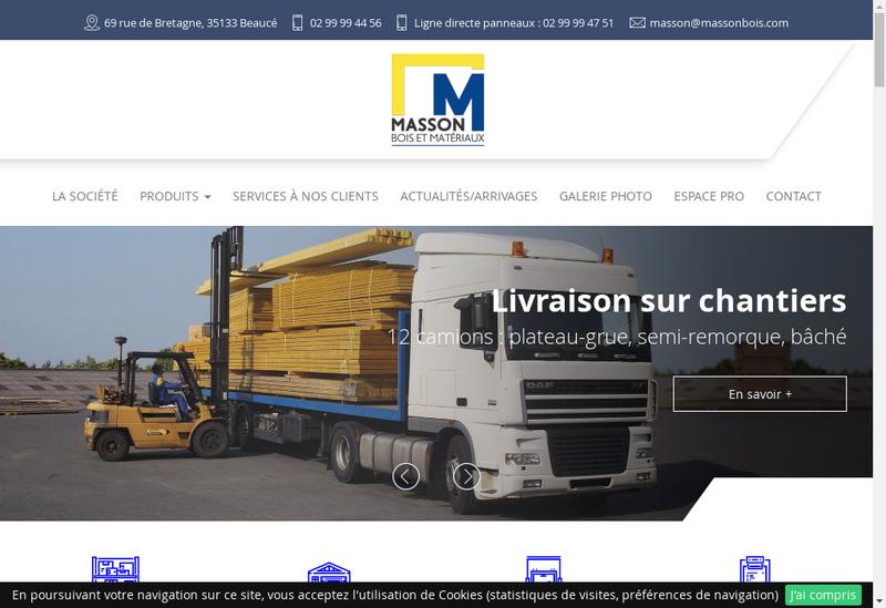 Capture d'écran du site de Masson Bois et Materiaux Fougerais