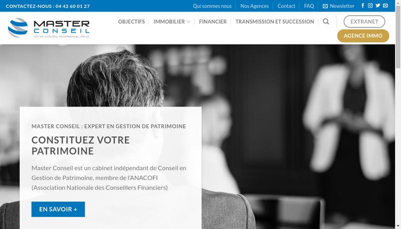 Capture d'écran du site de Master Conseil