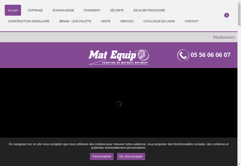 Capture d'écran du site de Mat Equip