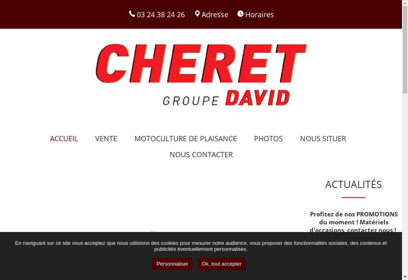 Capture d'écran du site de Cheret Groupe David