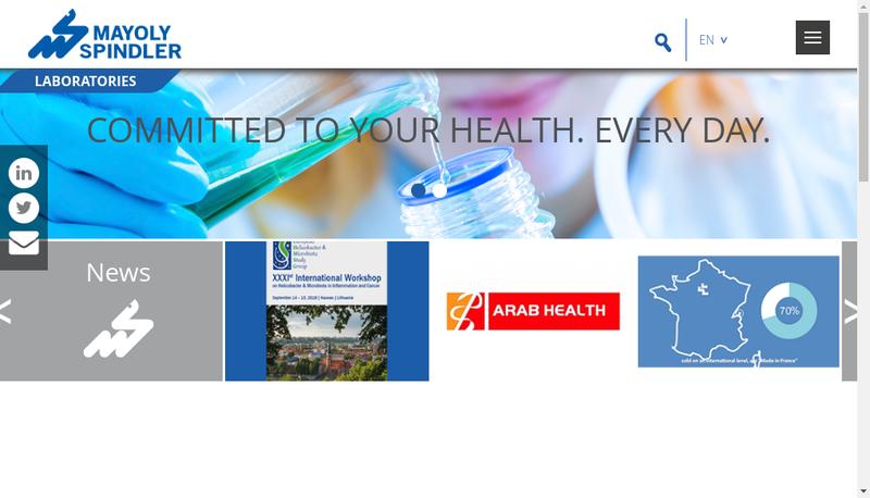 Capture d'écran du site de Mayoly Sante