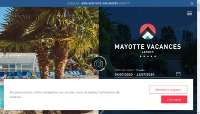 Site internet de Mayotte Vacances Camping Village