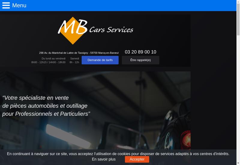 Capture d'écran du site de Mb Cars Services