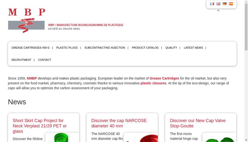 Capture d'écran du site de Mbp Manufacture Bourguignonne Plastiqu