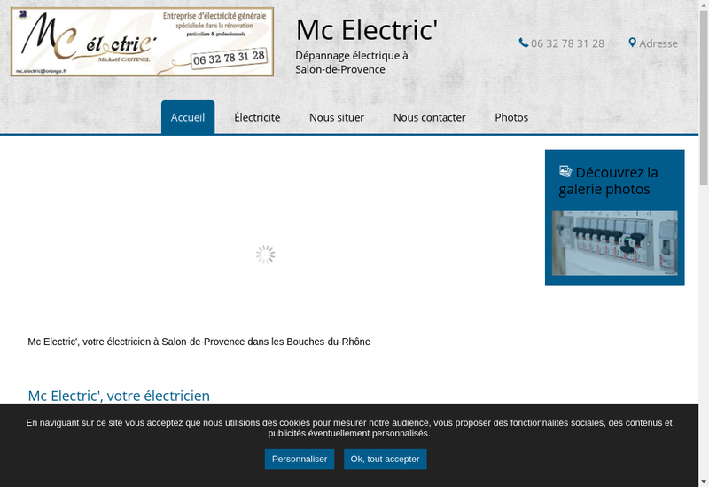 Capture d'écran du site de Mc Electric
