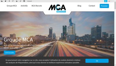 Capture d'écran du site de Mca Groupe