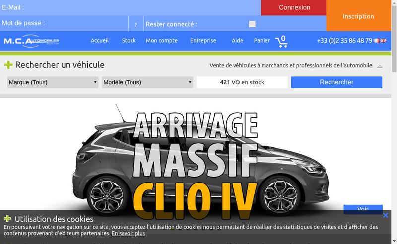 Capture d'écran du site de Mc Automobiles