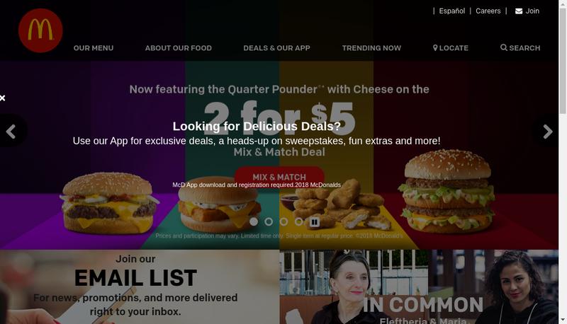 Capture d'écran du site de Mc Donald'S