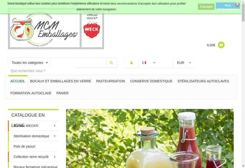 Capture d'écran du site de MCM Emballages