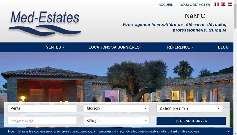 Capture d'écran du site de Med Estates