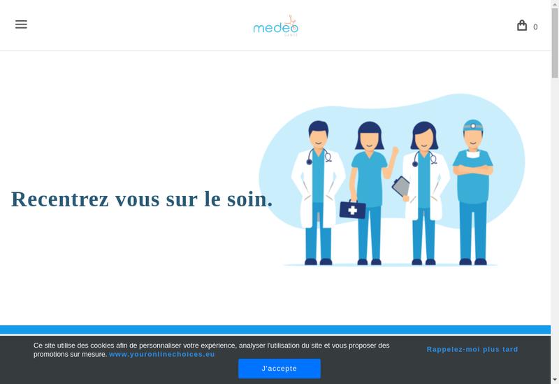 Capture d'écran du site de Medeo