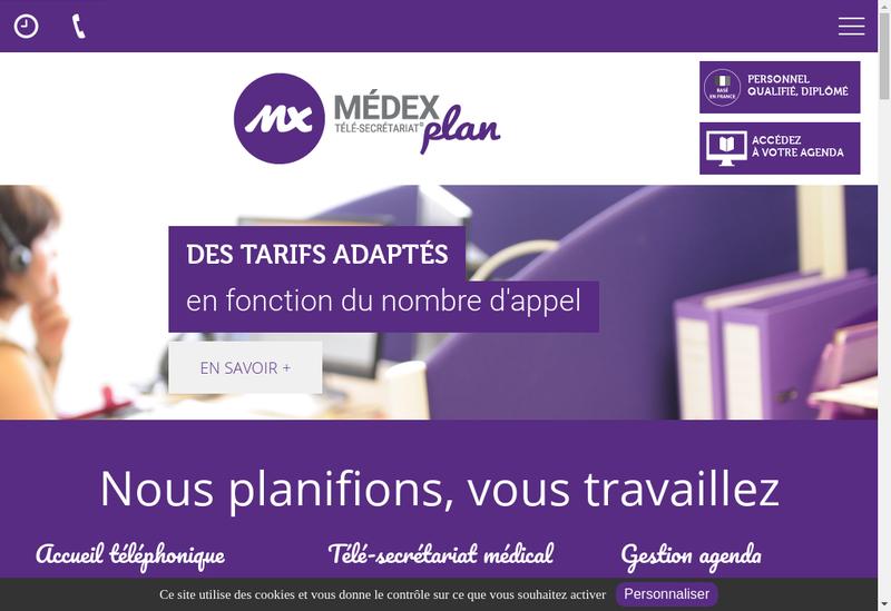 Capture d'écran du site de Medexplan Secretariat