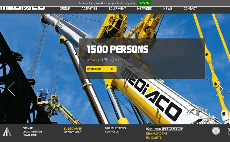 Capture d'écran du site de Mediaco Maxilift