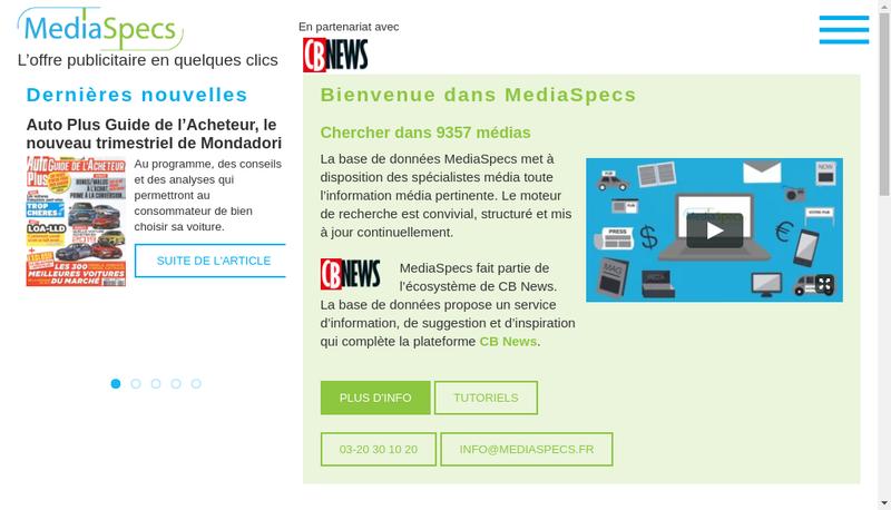 Capture d'écran du site de Mediaspecs