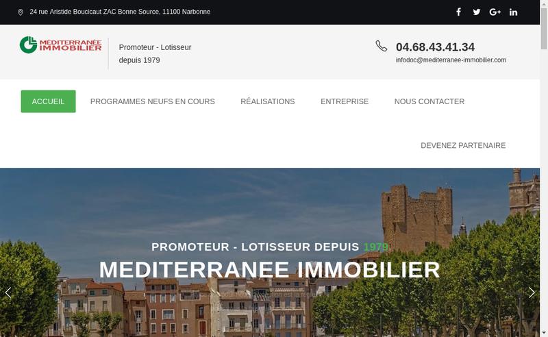 Capture d'écran du site de Mediterranee Immobilier
