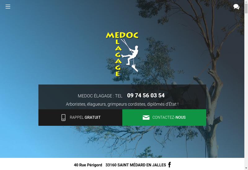Capture d'écran du site de Medoc Elagage