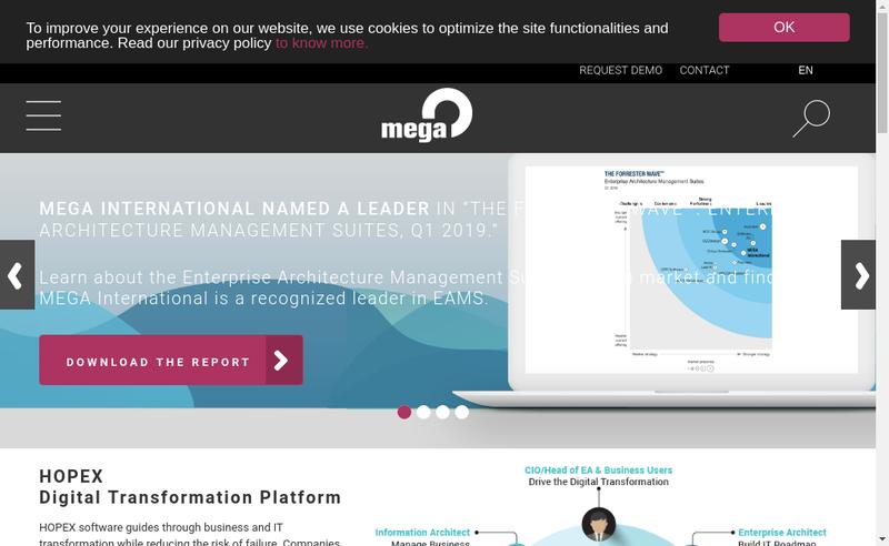 Capture d'écran du site de Mega International