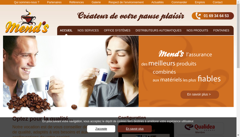 Capture d'écran du site de Mend S
