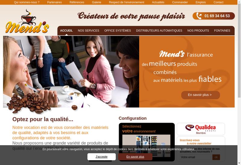 Capture d'écran du site de Mend'S