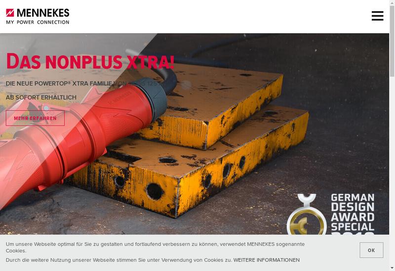 Capture d'écran du site de Mennekes Electrotechnique France