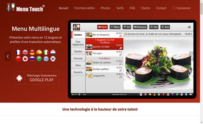 Site internet de Menu Touch