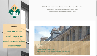 Capture d'écran du site de SARL Billiet
