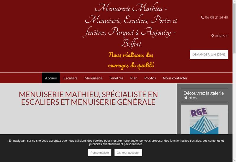 Capture d'écran du site de Menuiserie Mathieu
