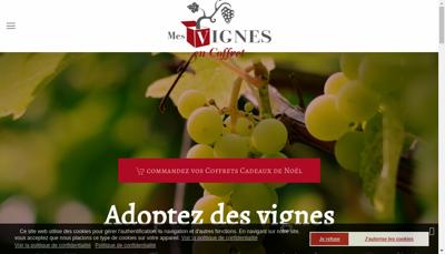 Capture d'écran du site de Mes Vignes en Coffret