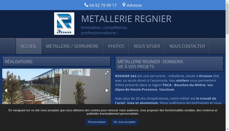 Capture d'écran du site de Metallerie Regnier