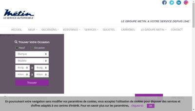 Capture d'écran du site de Metin Holding