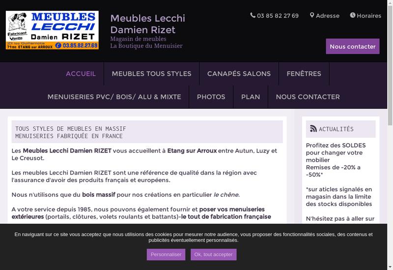 Capture d'écran du site de Damien Rizet - Meubles Lecchi