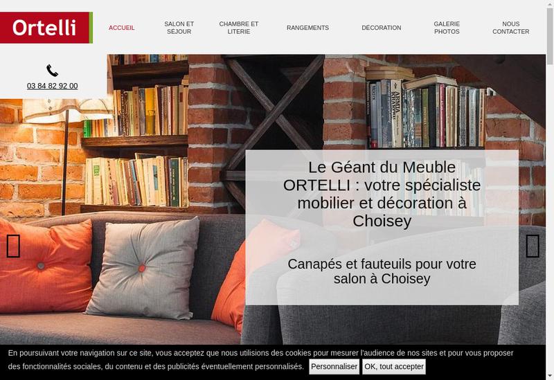 Capture d'écran du site de Meubles Ortelli