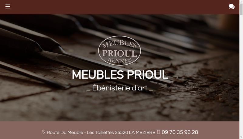 Capture d'écran du site de Meubles Prioul