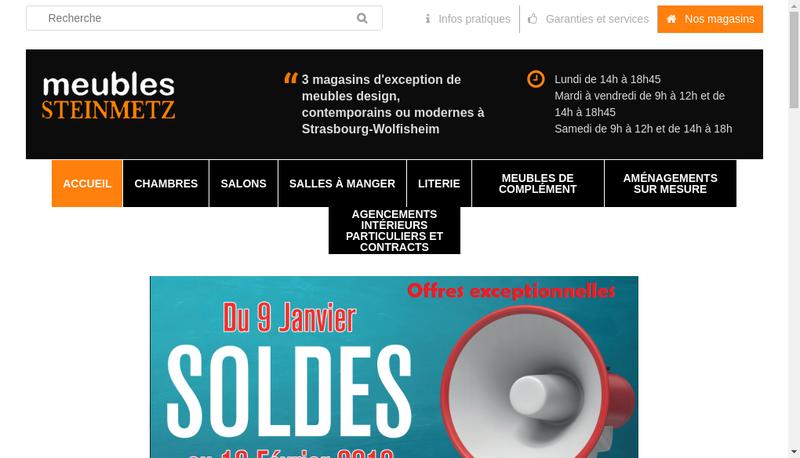 Capture d'écran du site de Meubles Steinmetz SARL