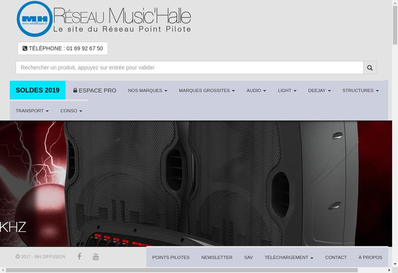 Capture d'écran du site de Music Halle Diffusion