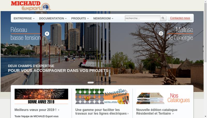 Capture d'écran du site de Michaud Export