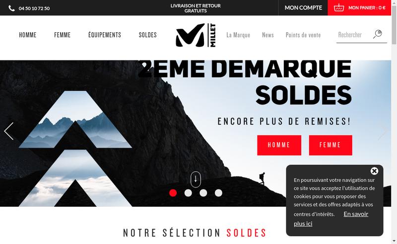 Capture d'écran du site de Millet Mountain Group SAS