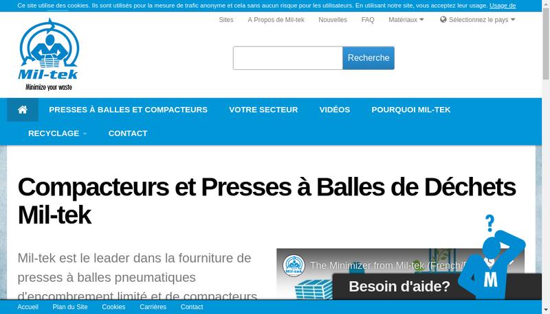 Capture d'écran du site de Mil Tek France Sud
