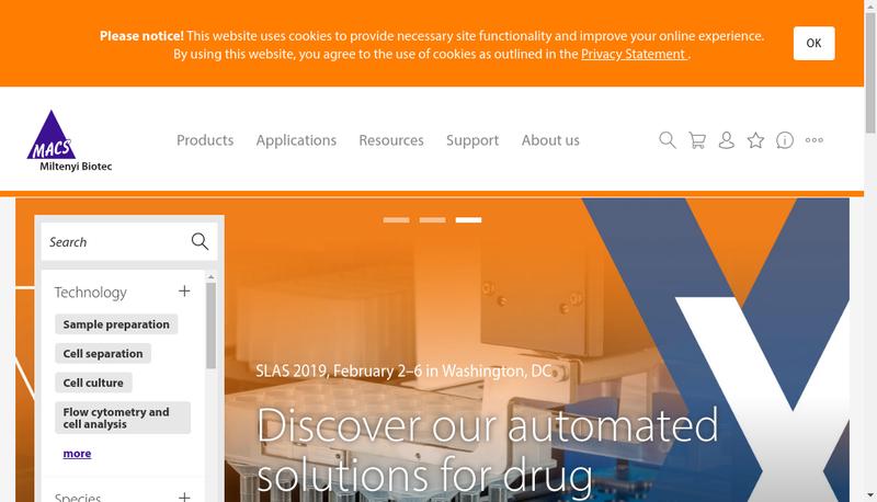 Capture d'écran du site de Miltenyi Biotec