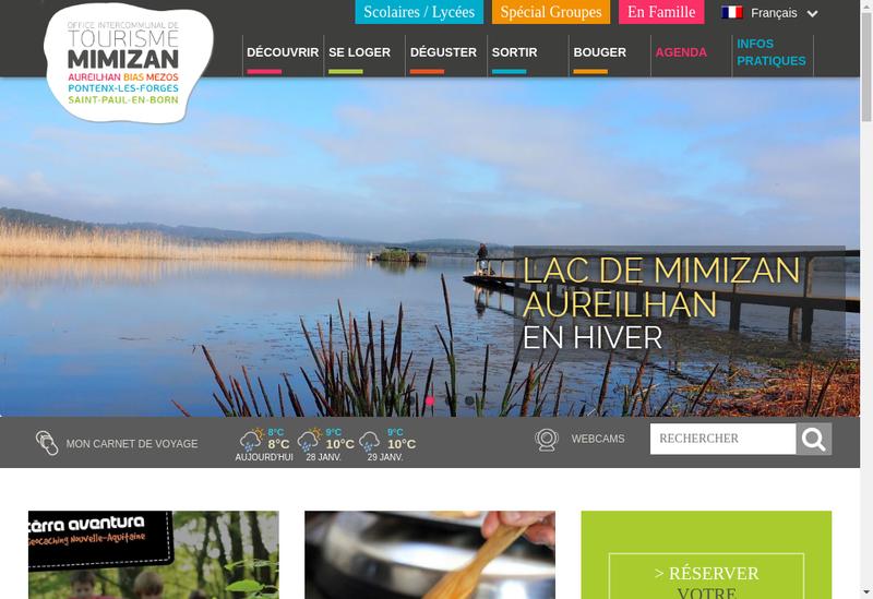 Capture d'écran du site de Office Intercommunal de Tourisme