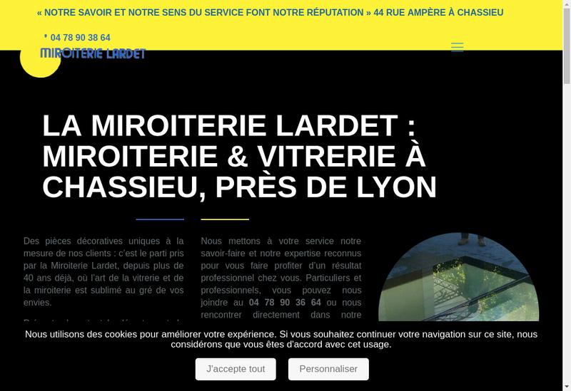 Capture d'écran du site de Miroiterie Lardet