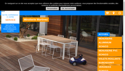 Capture d'écran du site de Miroiterie Martinez