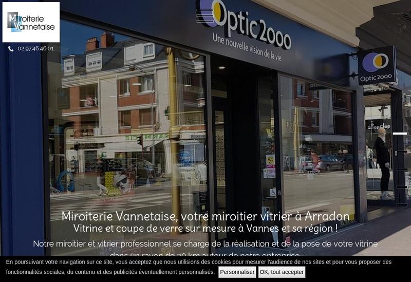 Capture d'écran du site de Miroiterie Vannetaise