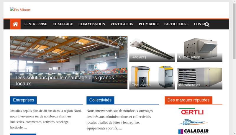 Capture d'écran du site de Entreprise Miroux